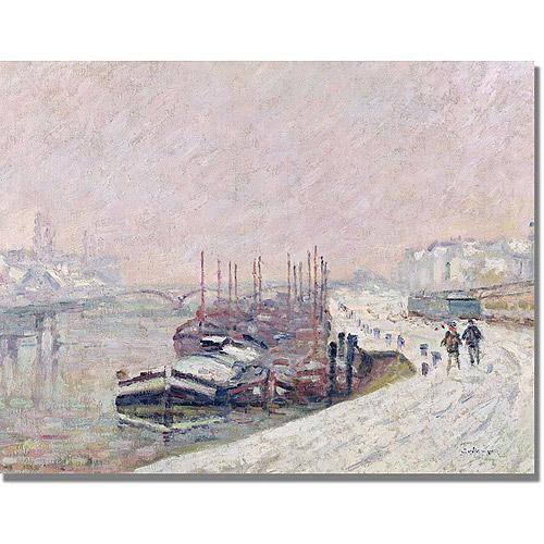 """Trademark Fine Art """"Snow in Rouen"""" Canvas Art by Jean Baptiste Corot"""