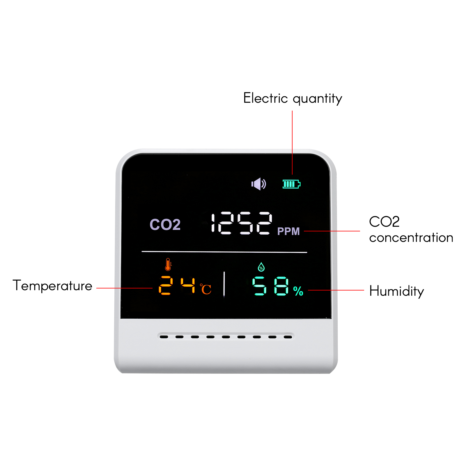 Details about  /Carbon Dioxide Detector CO2 Temperature Humidity Tester Air Monitor LCD Display