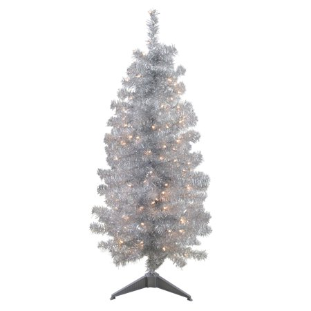 Tinsel Christmas Tree.4 X 22 Pre Lit Slim Silver Artificial Tinsel Christmas Tree Clear Lights