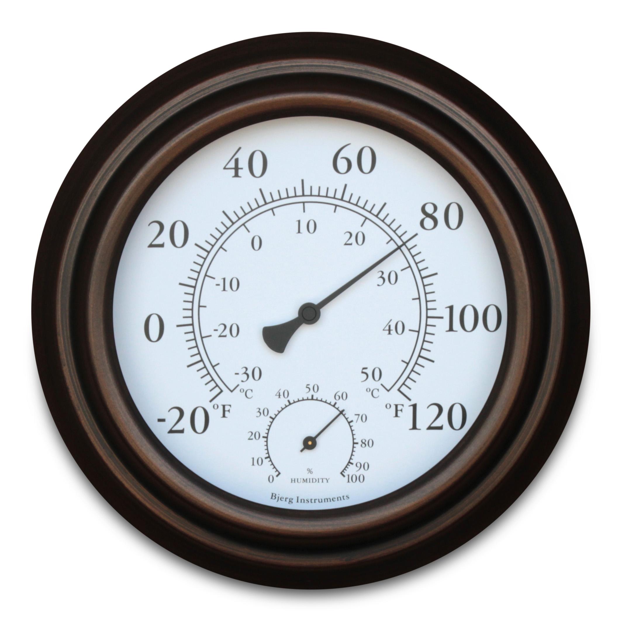 """Bronze 8"""" Metal Decorative Indoor / Outdoor Thermometer and Hygrometer"""