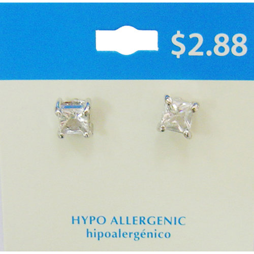 Essentials Silver-Tone Square Stone Stud Earrings