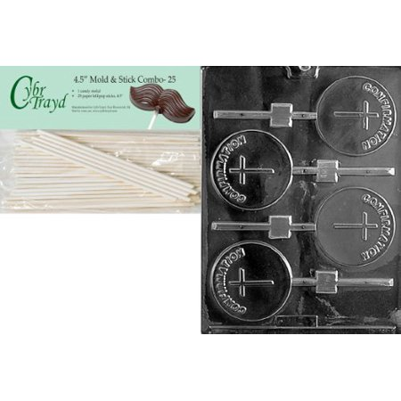 Cybrtrayd Confirmation Lolly Chocolate Candy Mold with 25 4.5-Inch Lollipop Sticks and Exclusive Cybrtrayd Copyrighted Chocolate Molding Instructions ()
