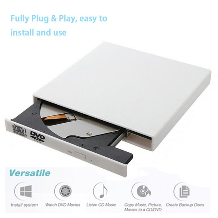 USB External Combo Optical Drive CD/DVD Player CD Burner for PC Win 7 8