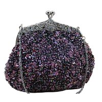 Chicastic Fully Sequined Mesh Beaded Antique Style Wedding Evening Formal Cocktail Clutch Purse - Black