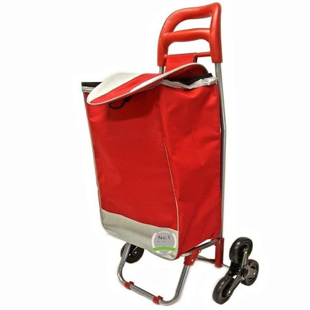 Super Duty Stair Climber Rolling Shopping Utility Cart Dolly Trolley Multipurpose Tri Wheel 40LB Capacity Knapsack Bag Laundry Grocery Shopping Drawstring Rubber (Red) - Lightweight & Easy Hauler