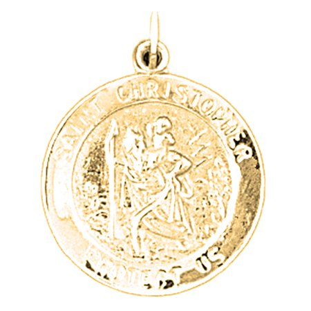 Yellow Gold Plated 925 Sterling Silver 25Mm Saint Christopher Coin Pendant  2 55 Gram Weight