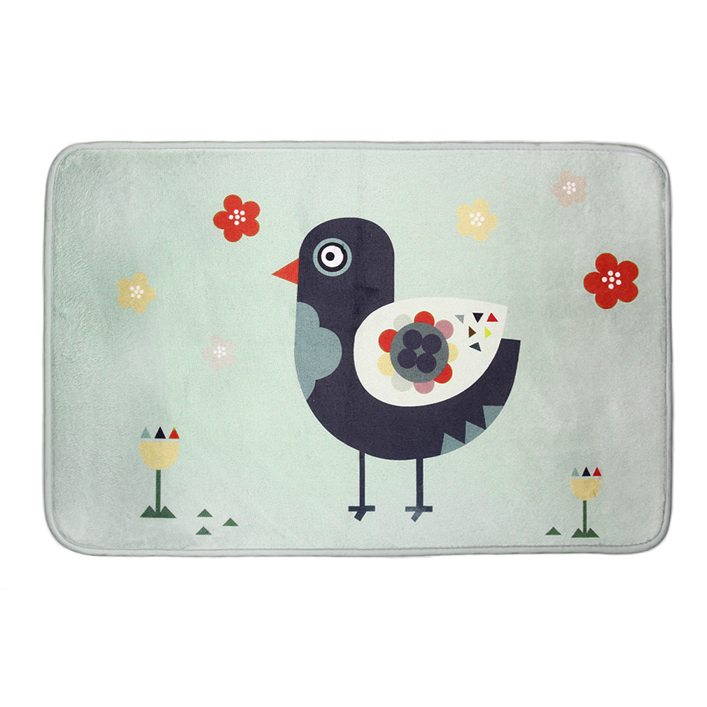 Fashion Grey Pigeon Printed Rug Toilet Carpet Flannel Non Slip Bath Mat