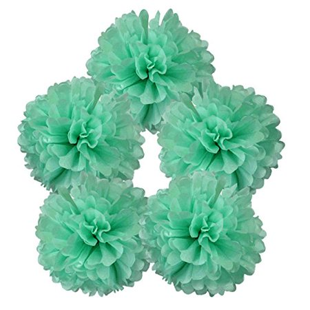 """Just Artifacts 5pcs 8"""" Inch Tissue Paper Pom Pom Flower Ball (Color: Spearmint)"""