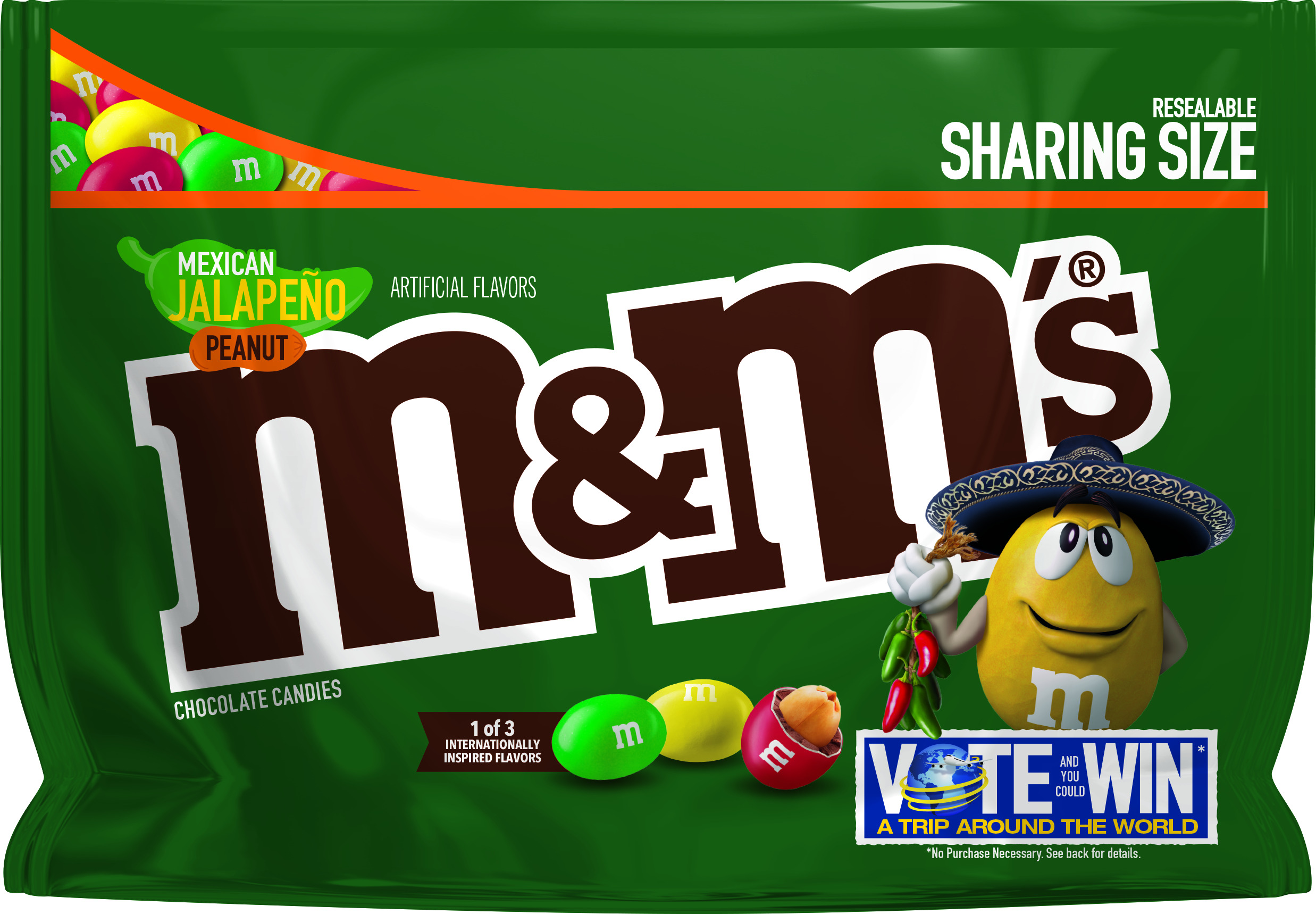 M&M'S Mexican Jalapeno Peanut Chocolate Candy Flavor Vote, 9.6 Ounce Bag