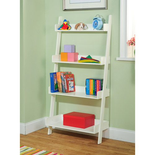 Leaning 4-Tier Bookcase, Multiple Colors
