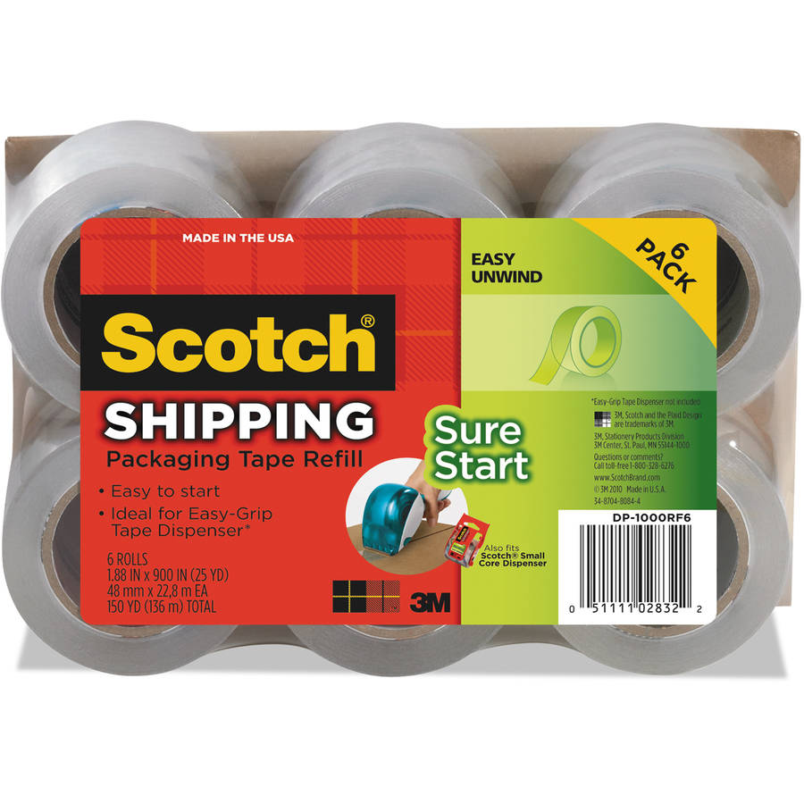 "Scotch Refill Rolls for DP-1000 Easy Grip Tape Dispenser, 1.88"" x 25 yds, 6-Pack"