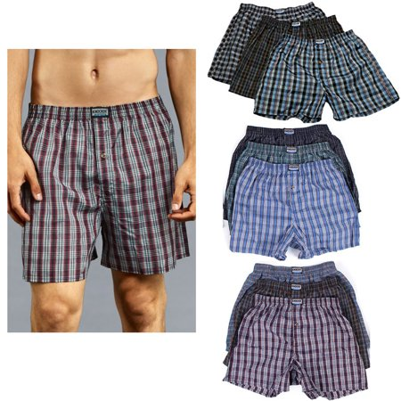 6 Men Knocker Boxer Trunk Plaid Shorts Underwear Cotton Briefs Elastic 3XL 50-52