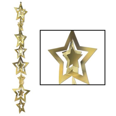 3-D Prismatic Star Gleam N Garland in Gold - Pack of 12](Gold Star Garland)