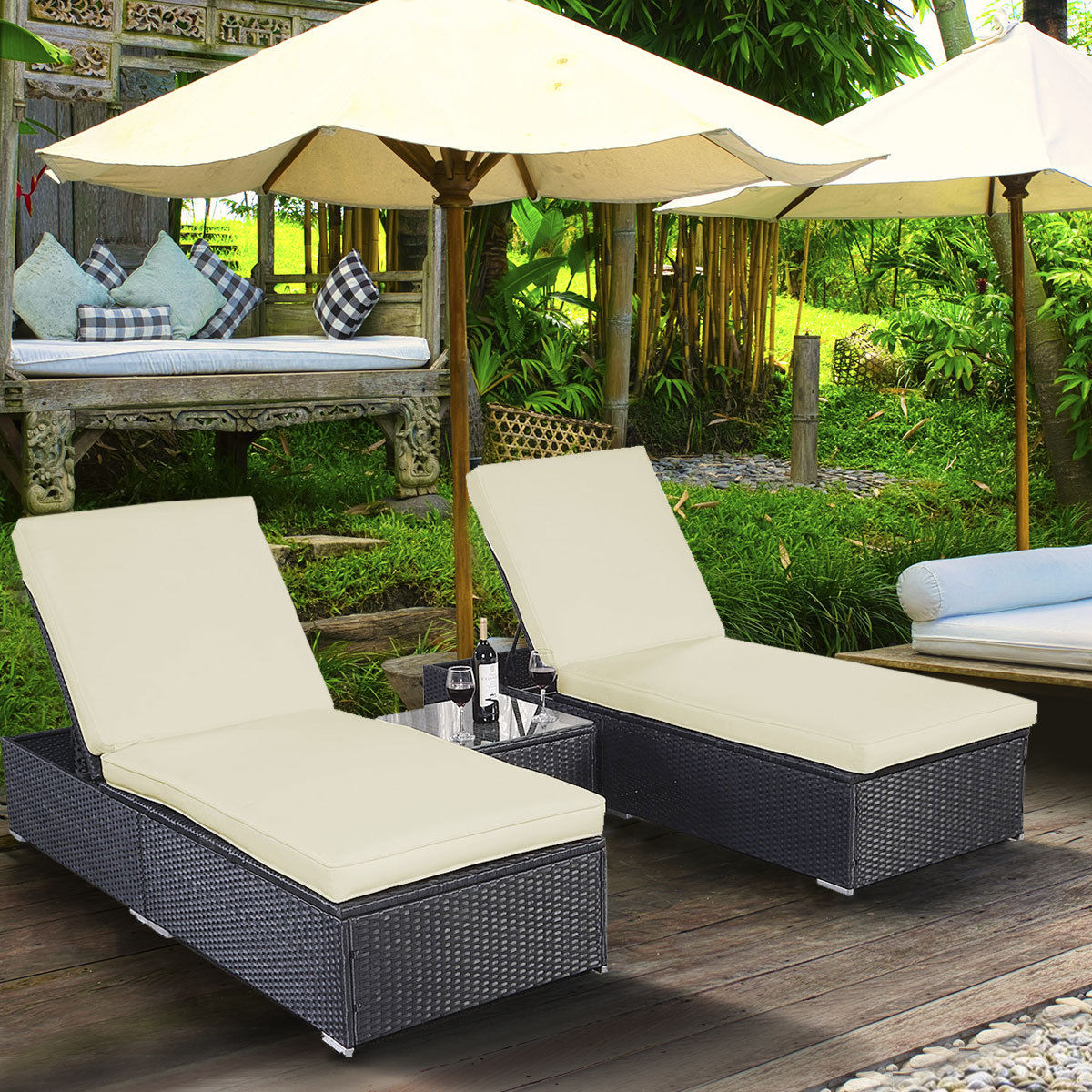 Superior Costway 3 Piece Wicker Rattan Chaise Lounge Chair Set Patio Steel Furniture  Black Wicker
