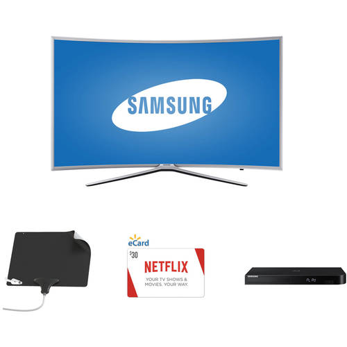 "Samsung 40"" Curved HDTV, Blu-Ray Player with Smart Hub, Netflix Gift Card, Mohu Ultimate Antenna Bundle - Cut the Cable"