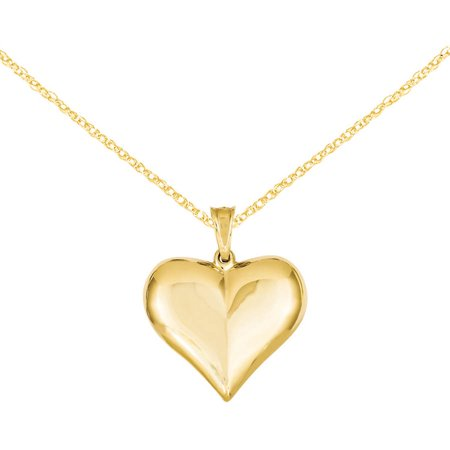 Primal Gold 14 Karat Yellow Gold Puffed Heart Pendant with 18-inch Cable Chain