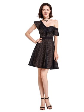 96e084a370 Product Image Alisa Pan Women's Sexy One Shoulder Ruffled Fit and Flare  Black Sheer Cocktail Party Date Night