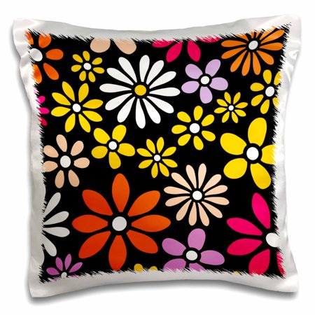 3dRose Retro Flower Pattern - White Yellow and Orange Daisy Flowers on Black - 60s 70s hippy hippie daisies - Pillow Case, 16 by 16-inch
