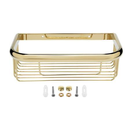 10-inch Brass Wall Mount Rectangle Shape Bathroom Shower Caddy ...