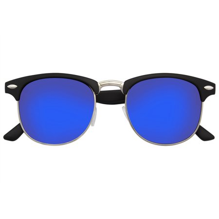 Emblem Eyewear - Retro Fashion Half Frame Flash Mirror Semi Rimless Horned Rim (Tween Sunglasses)