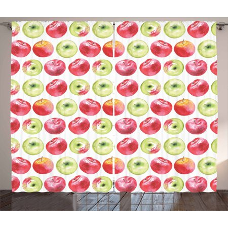 Apple Curtains 2 Panels Set, Watercolor Macoun Cameo and Granny Smith Drawing in Agricultural Yield Pattern, Window Drapes for Living Room Bedroom, 108W X 108L Inches, Apple Green Red, by Ambesonne ()
