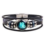 Unisex Astrology Zodiac Sign Constellation Horoscope Leather Wristband Bracelet for Men and Women