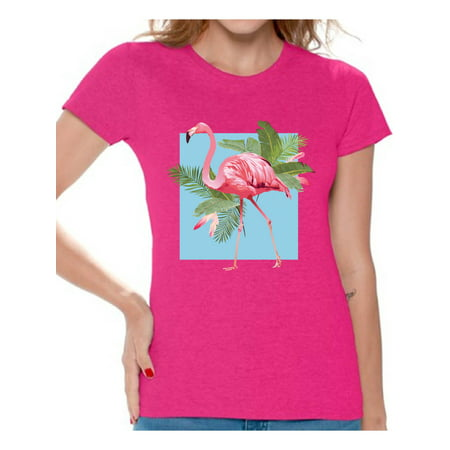 Awkward Styles Punk Flamingo Tshirt for Women Floral Flamingo Shirt Flamingo Shirts for Women Floral Summer T Shirt Summer Party Beach Outfit Pink Flamingo T-Shirt Pink Floral Shirt for Women