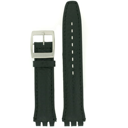 Black Carbon Fiber Watch Band - Leather Watchband to Fit Swatch Watch Black Italian Leather 19 millimeters