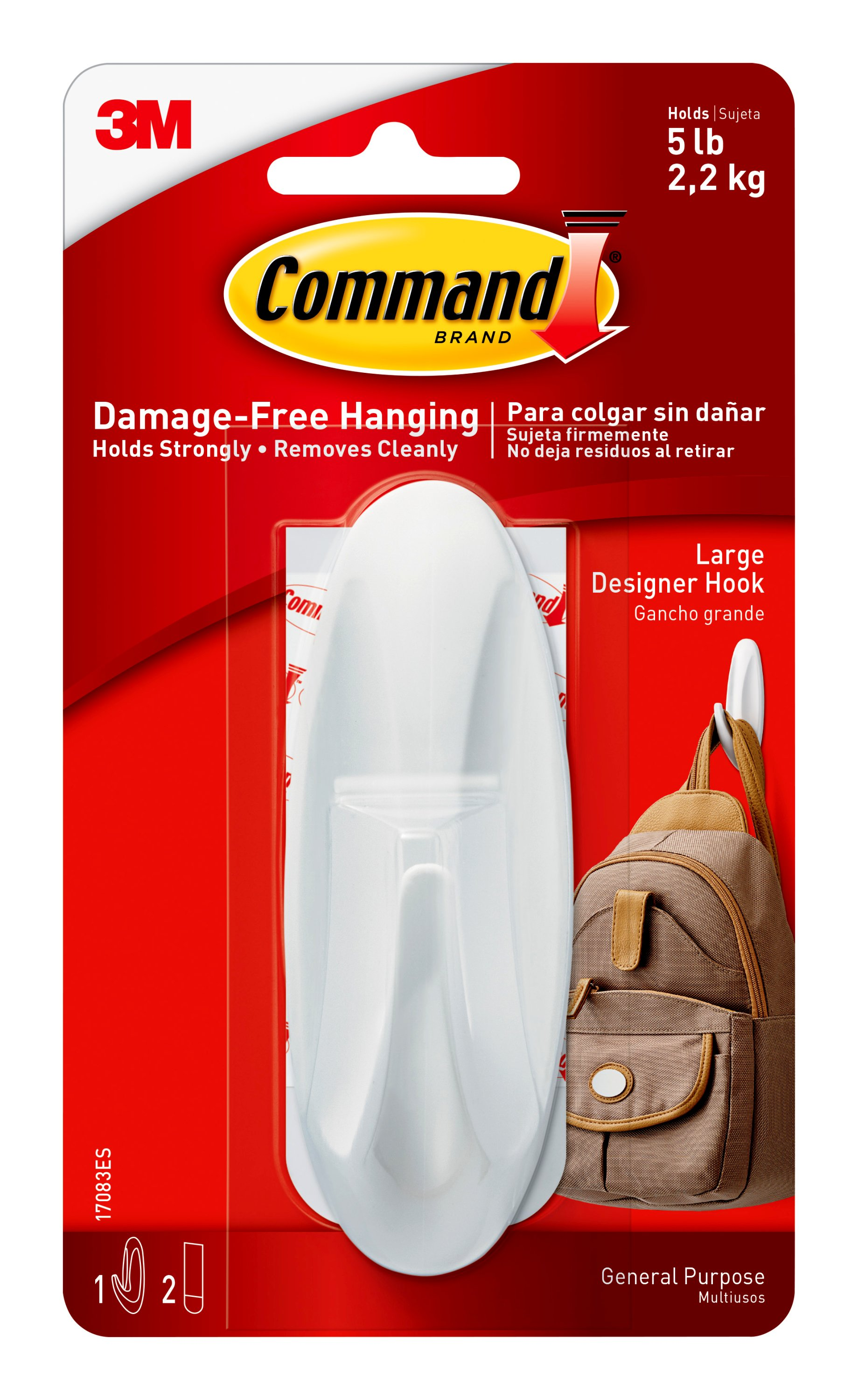 Command Designer Hook, White, Large, 1 Hook, 2 Strips Pack by 3M COMPANY