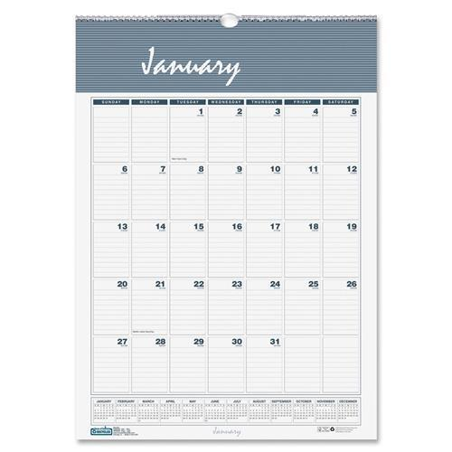 "334 House of Doolittle Bar Harbor Wall Calendar - Monthly - 22"" x 31.25"" - 1 Year - January till December - 1 Month Single Page Layout - Paper - Blue, Gray"