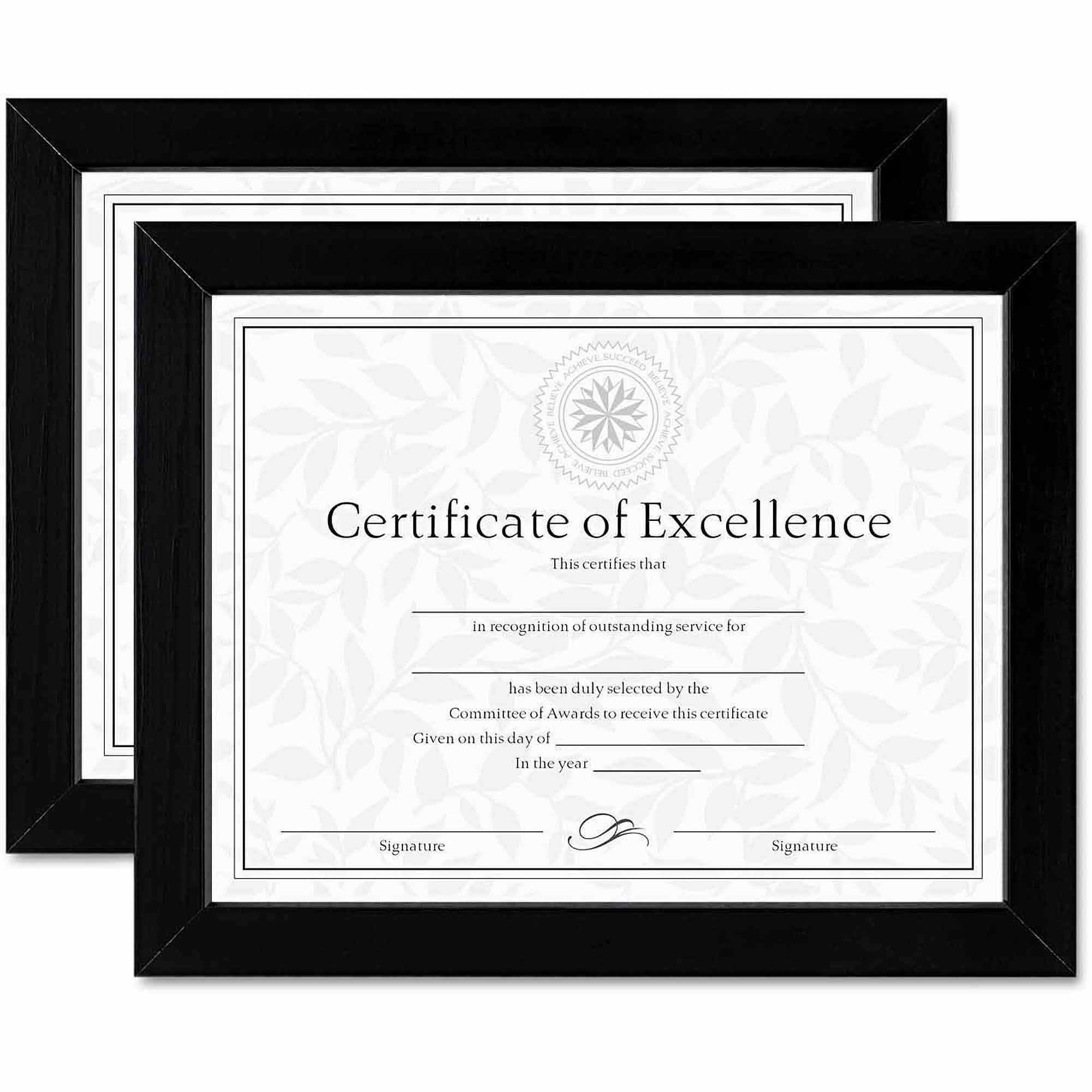 """DAX Document/Certificate Frames, Wood, 8-1/2"""" x 11"""", Black, Set of Two"""