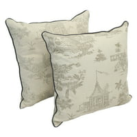18-inch Corded Throw Pillows with Inserts (Set of 2) - Cottage Sketching