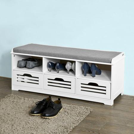 Haotian Storage Bench with 3 Drawers & Seat Cushion, Shoe Cabinet Storage Unit Bench,FSR36-W,white ()