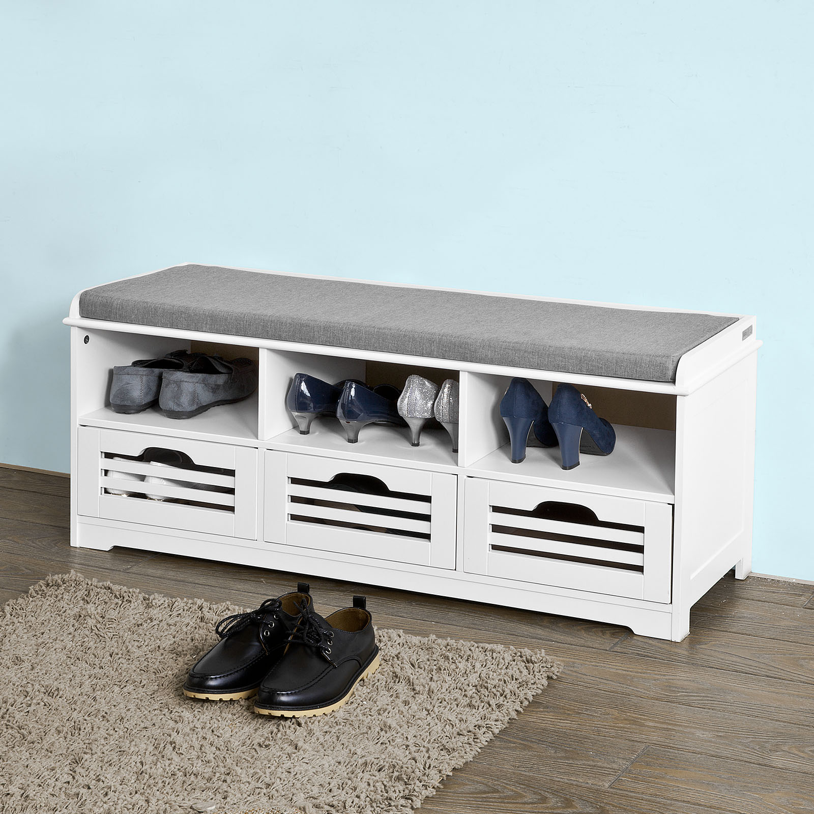 Haotian Storage Bench With 3 Drawers U0026 Seat Cushion, Shoe Cabinet Storage  Unit Bench,