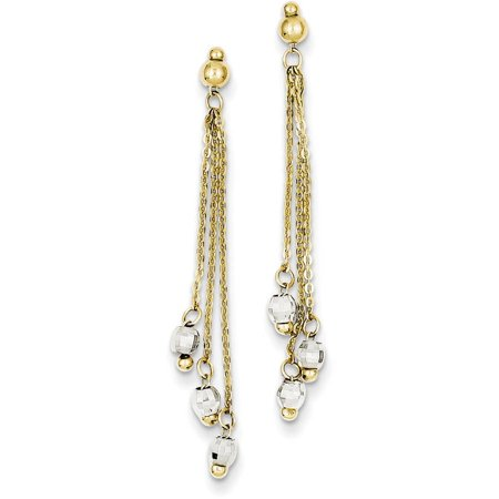 Faceted Glass Bead Earrings (14kt Two-Tone Cable Chain Faceted Bead Earrings )