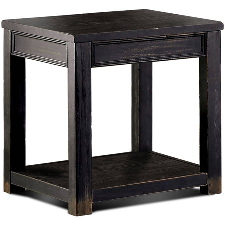 Furniture of America Denver Rustic End Table, Antique Black ()