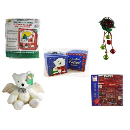Christmas Fun Gift Bundle [5 Piece] -  Tree Removal Bag And Tree Skirt - Festive Holly Berry & Pinecone Door Knob Jingler - Polar Pals Votive Holder - Angel Bear  8
