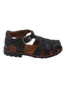 Boys Black Lug Sole Buckle Strap Leather Fisherman Sandals 5-10 Toddler