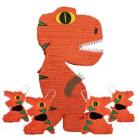 Orange Dinosaur Pinata Bundle, includes 1 Jumbo Pinata & 4 Mini Pinatas