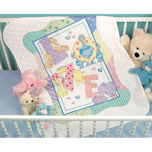 Baby by Herrschners Pre-Quilted Playland Baby Bibs Stamped Cross-Stitch Kit
