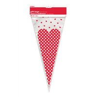 Dotted Heart Cone Cellophane Bags, 20-Count