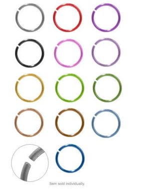 """Piercing Hoop Anodized Titanium Nose Ear Rings 18g 5/16"""" No Tolls Needed"""