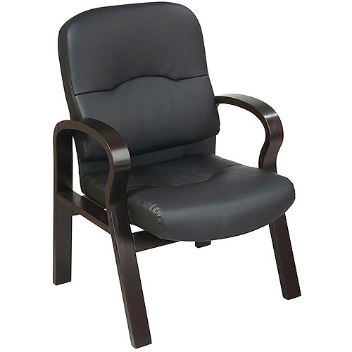 Office Star Leather Guest Chair with Espresso Finish Wood Base, Black