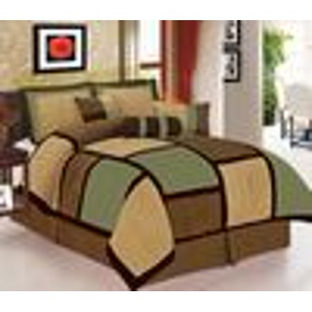 Legacy Decor 7 piece Sage, Brown and Beige Micro Suede Patchwork Comforter Set Machine Washable Full Size, Bed-in-a Bag