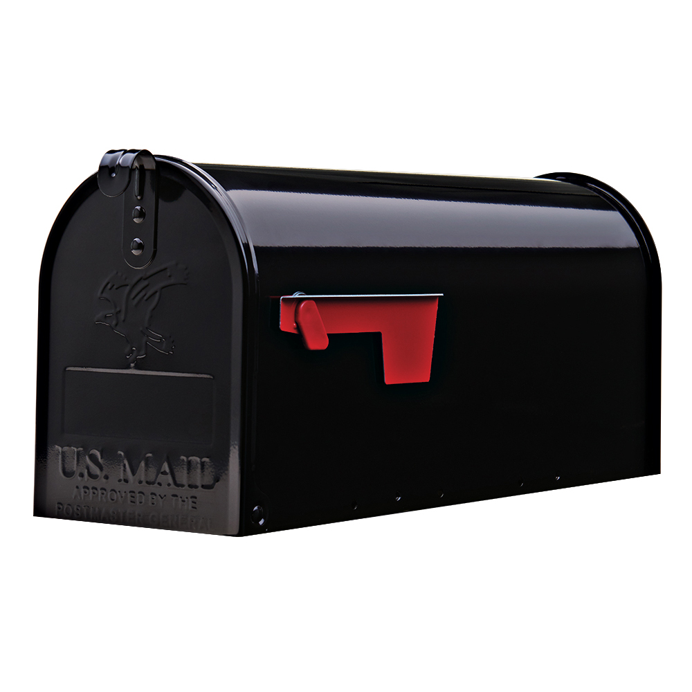 Gibraltar Elite Medium, Galvanized Steel, Black Post Mount Mailbox by Solar Group, Inc.