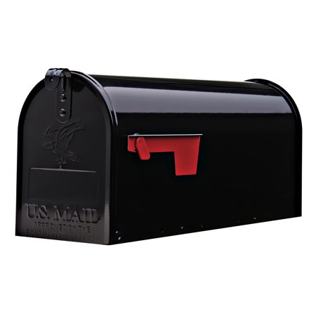Gibraltar Elite Medium, Galvanized Steel, Black Post Mount - Steel Wall Mount Mailbox