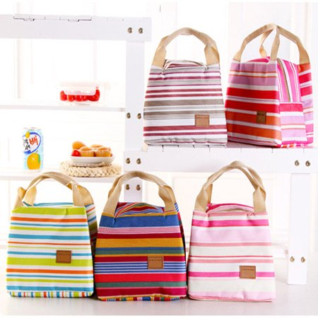Qiilu Yosoo Lunch Tote Pouch Container Fashion Insulated Thermal Cooler Striped Lunch Bag Picnic Carry Tote Case Lunch Handbags Office School Carry Box Food Storage
