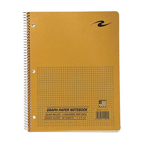 roaring spring paper products graph ruled notebook, one subject, 11 x 8.5 inches, 5 x 5 inches graph ruled, brown kraft cover, snag-proof coil, green paper, 80 sheets (11209)
