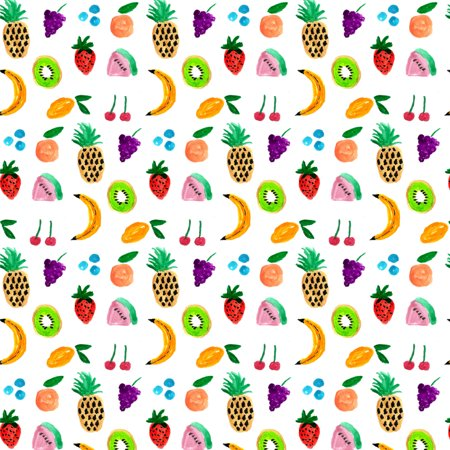 Tiny Fruits Bananas Cherries Grapes Kiwi Pineapples Premium Roll Gift Wrap Wrapping Paper Cherry Blossom Wrapping Paper