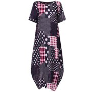 Birdfly Women's Summer Round Neck Short Sleeve Print Casual Loose Maxi Dress Flowy Comfy